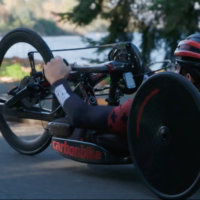 Travis Gaertner on his hand cycle